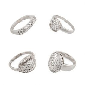 Silver jewelry on a white background